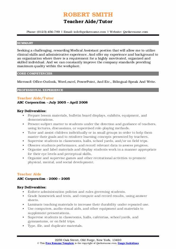 Teacher Aide/Tutor Resume Example