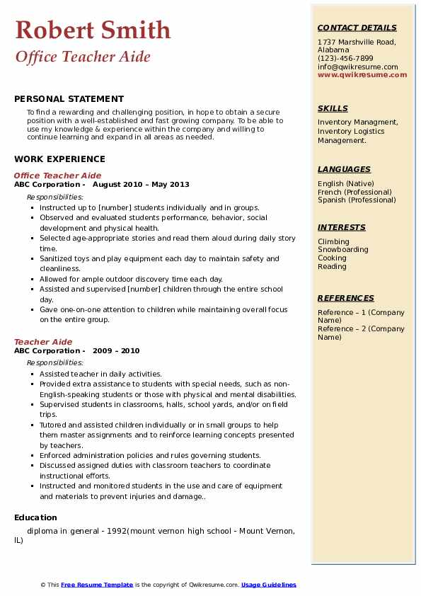 Office Teacher Aide Resume Model