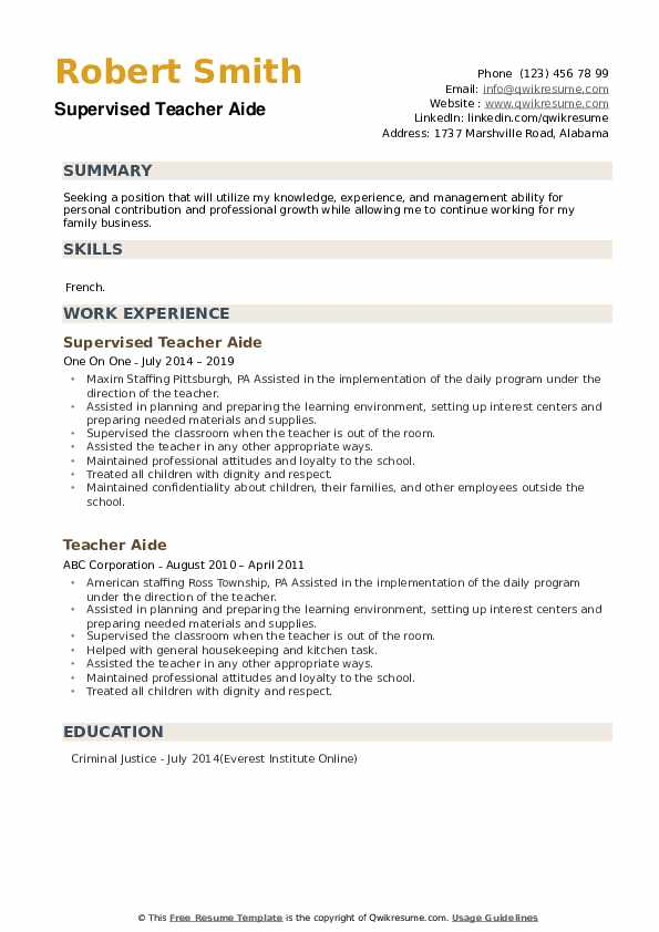 Supervised Teacher Aide Resume Template