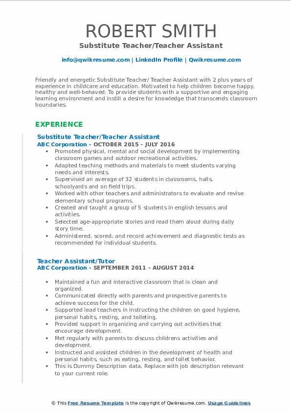 Substitute Teacher/Teacher Assistant Resume Example