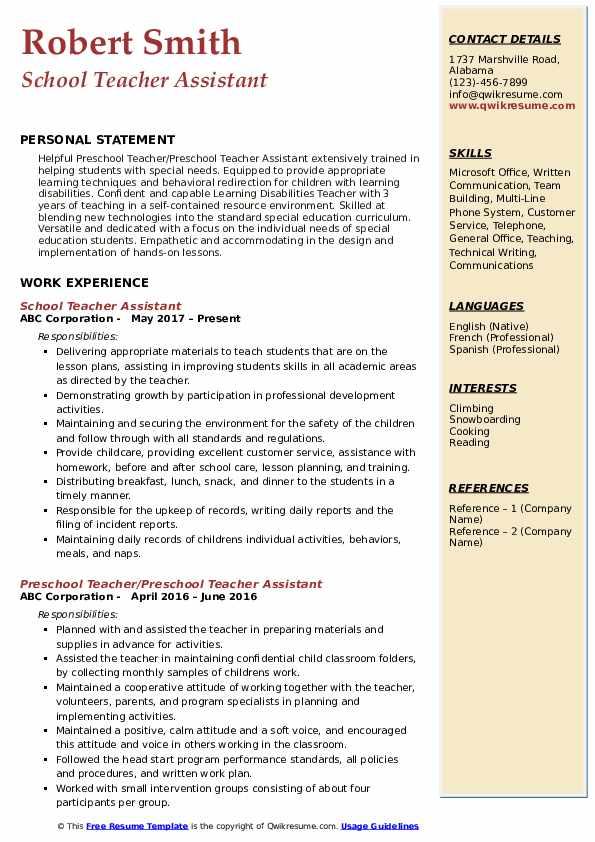 teacher assistant resume samples  qwikresume