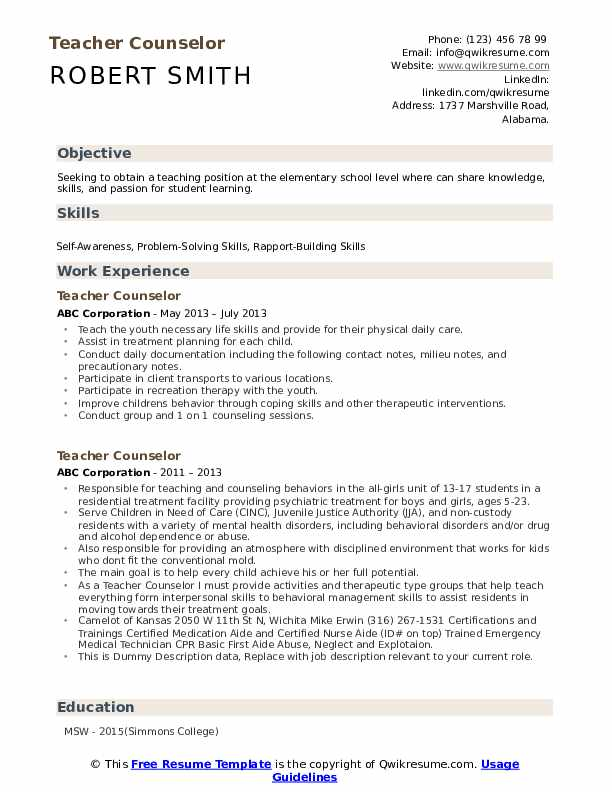 Teacher Counselor Resume example