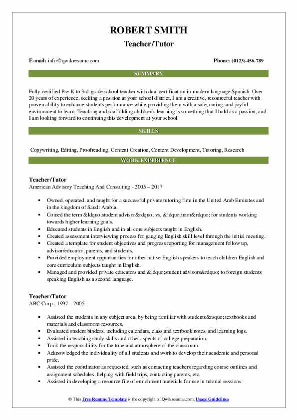 Teacher/Tutor Resume Model
