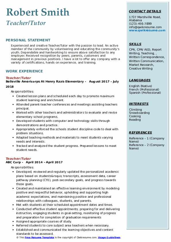 Teacher/Tutor Resume Sample