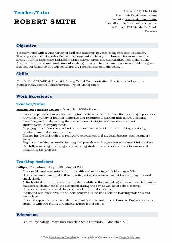 Teacher/Tutor Resume Template