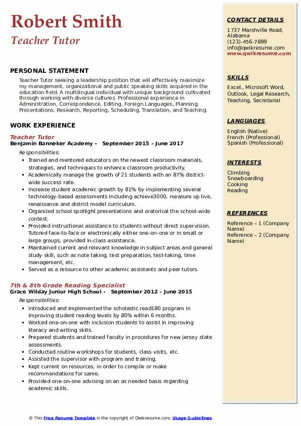 Teacher Tutor Resume Example