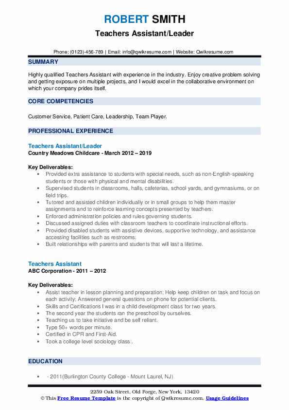 Teachers Assistant/Leader Resume Example