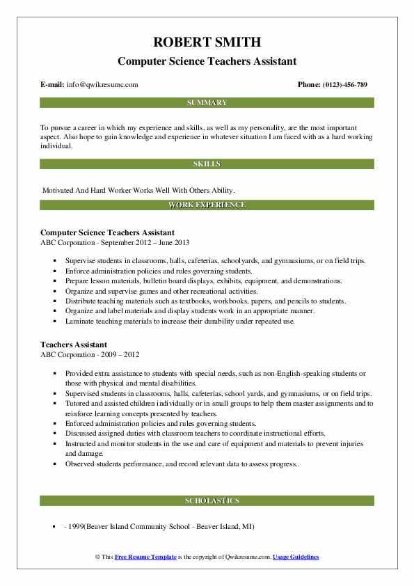 Computer Science Teachers Assistant Resume Format