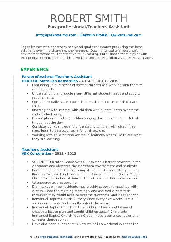 Paraprofessional/Teachers Assistant Resume Example