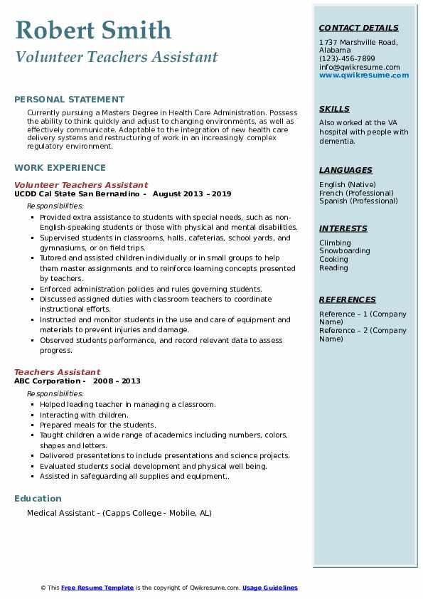 Volunteer Teachers Assistant Resume Model