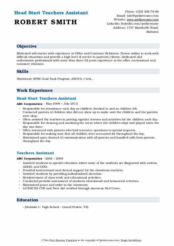 Head Start Teachers Assistant Resume Example