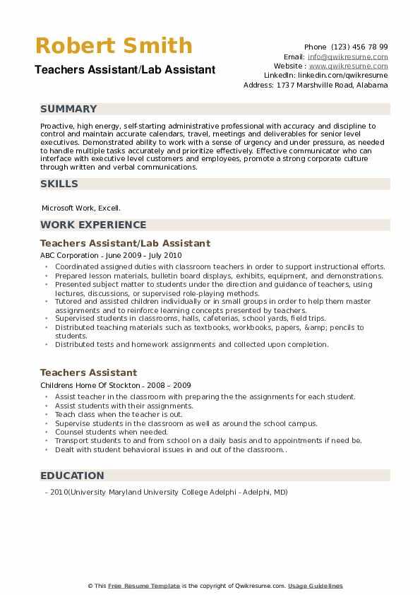 Teachers Assistant/Lab Assistant Resume Model