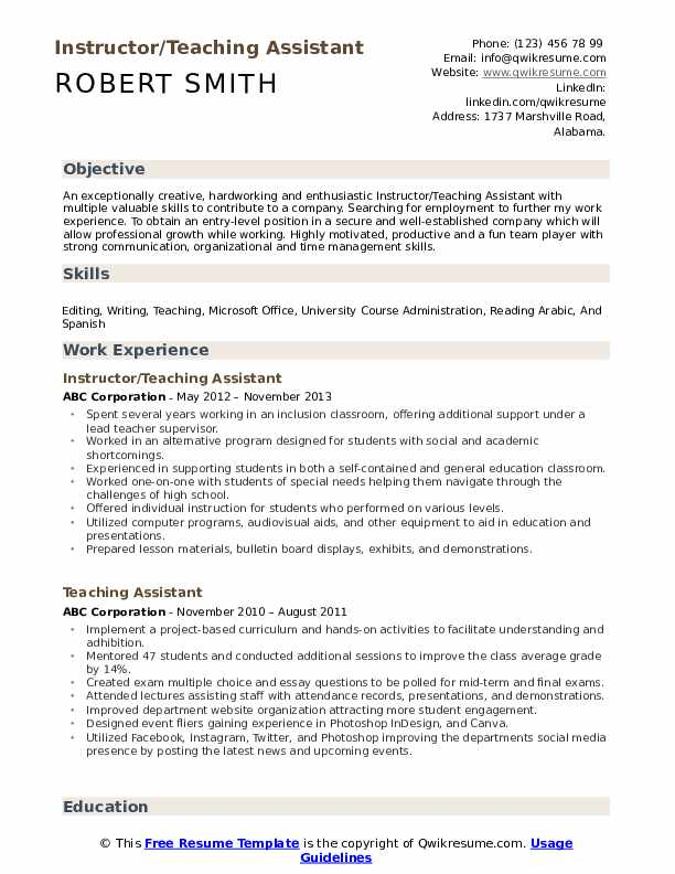 Instructor/Teaching Assistant Resume Format