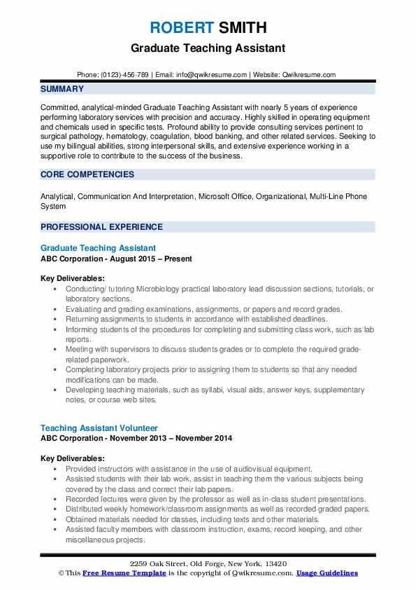 Graduate Teaching Assistant Resume Format