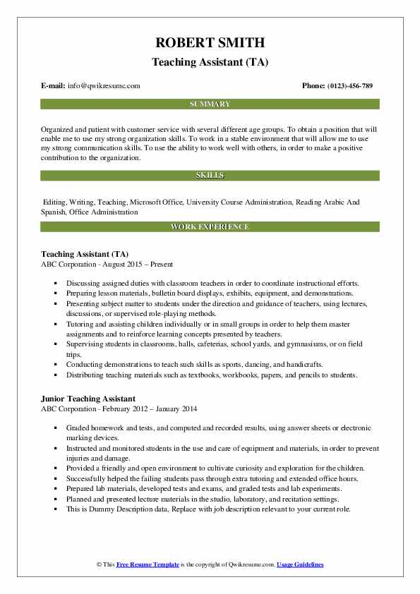 teaching assistant resume samples