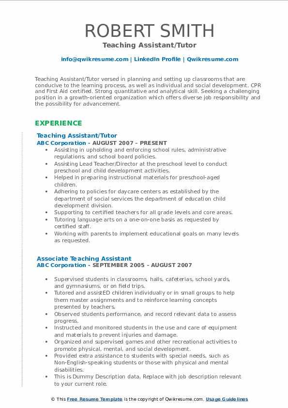 Teaching Assistant/Tutor Resume Sample