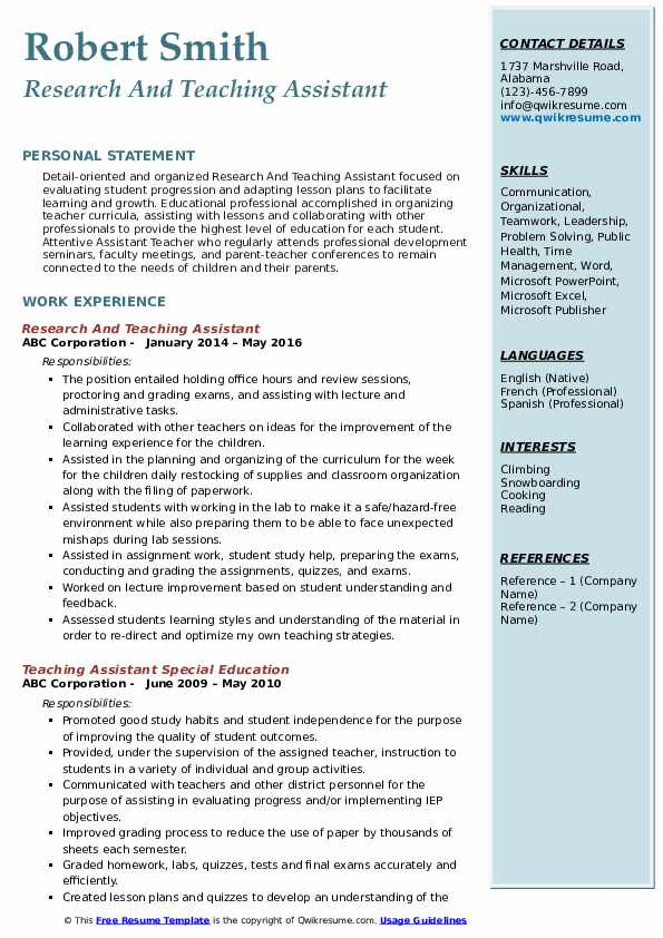 Research And Teaching Assistant Resume Example