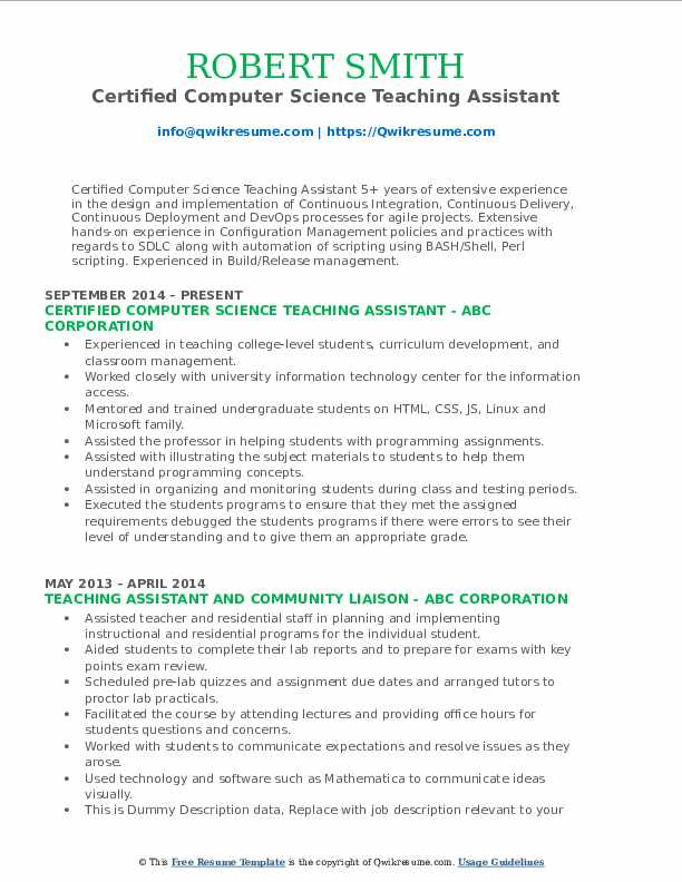 Certified Computer Science Teaching Assistant Resume Model