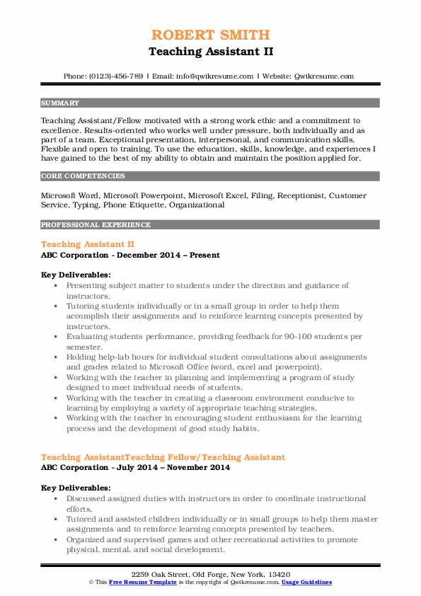 Teaching Assistant Resume Samples | QwikResume