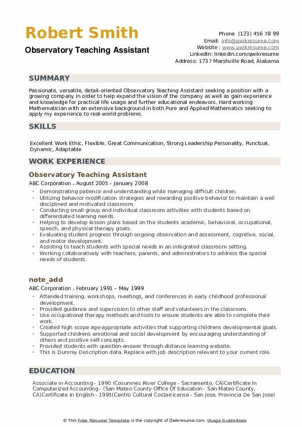 Teaching Assistant Resume Samples Qwikresume
