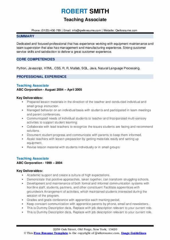 Teaching Associate Resume example