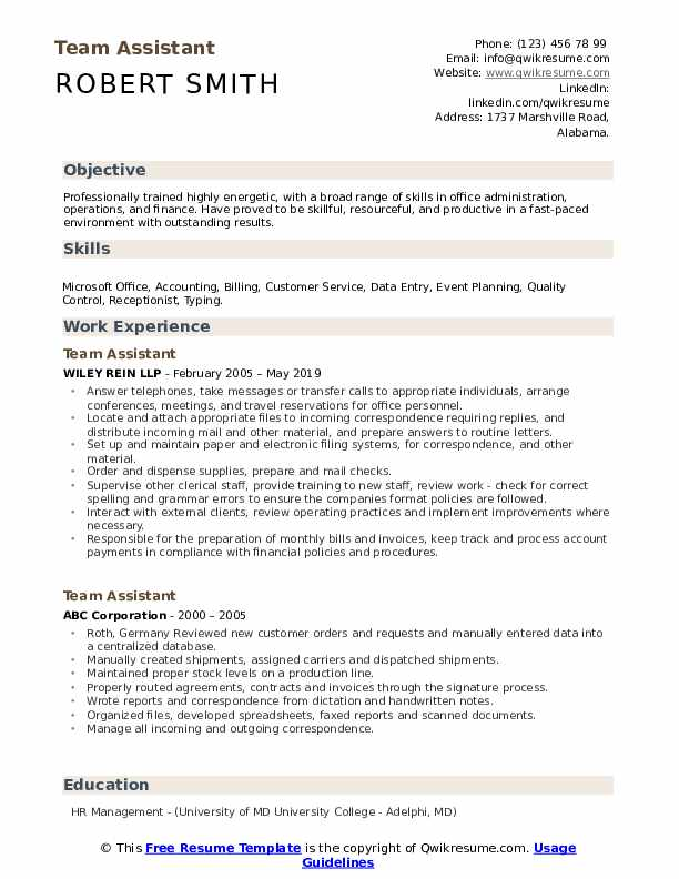Team Assistant Resume Example