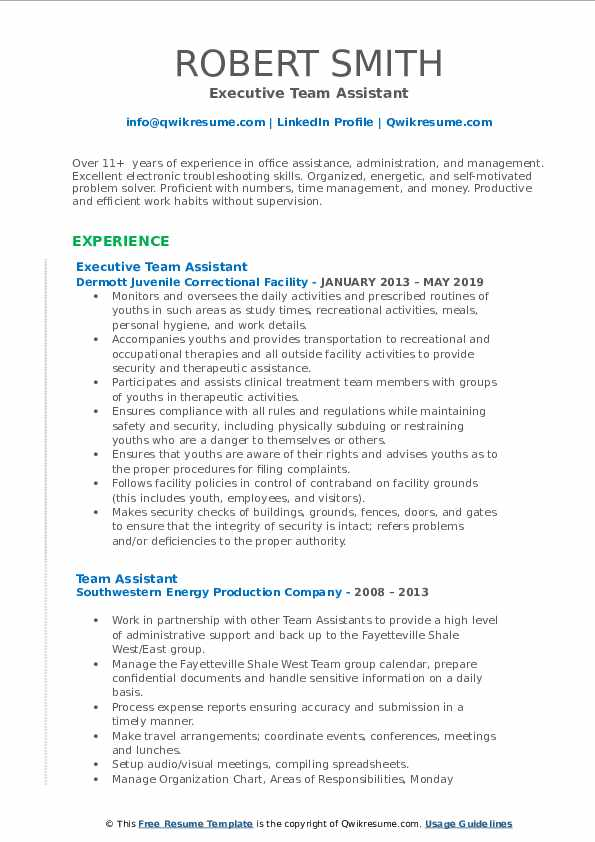 Executive Team Assistant Resume Template