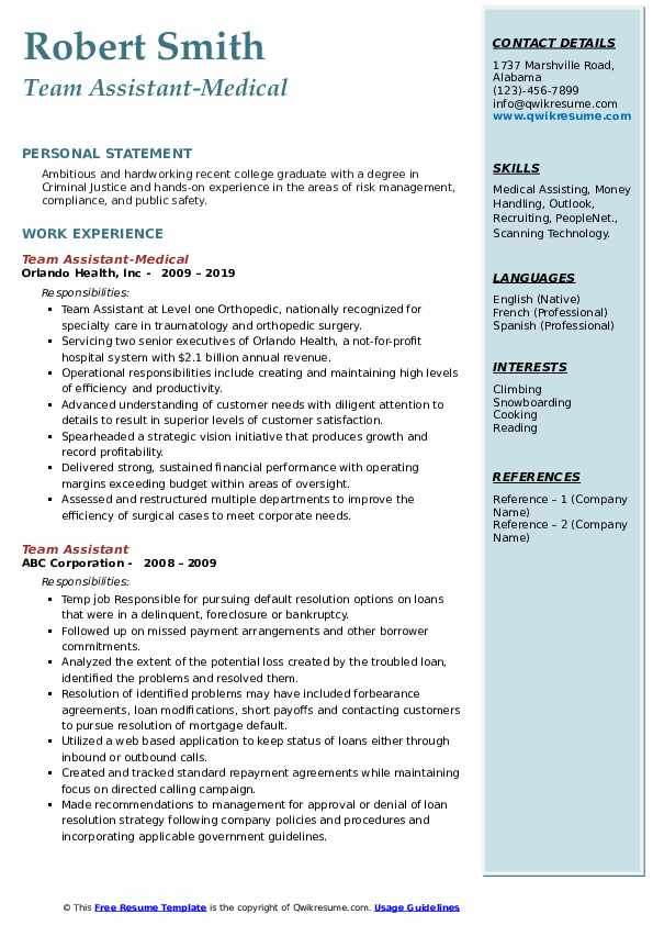Team Assistant-Medical Resume Format