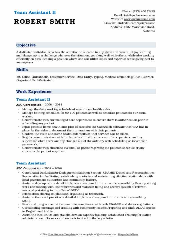 Team Assistant II Resume Sample