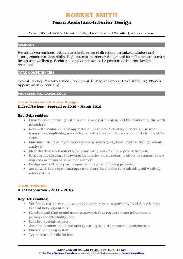 Team Assistant-Interior Design Resume Format