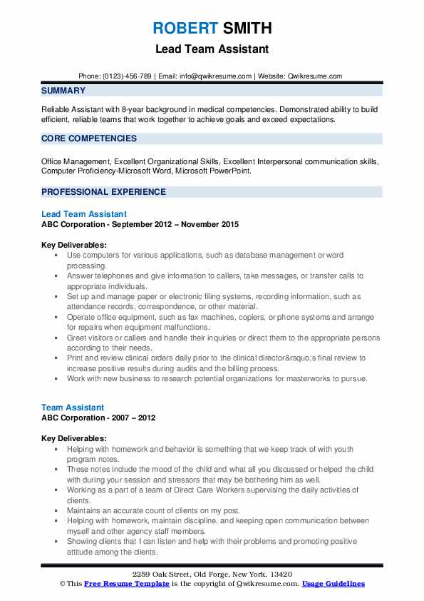 Lead Team Assistant Resume Format