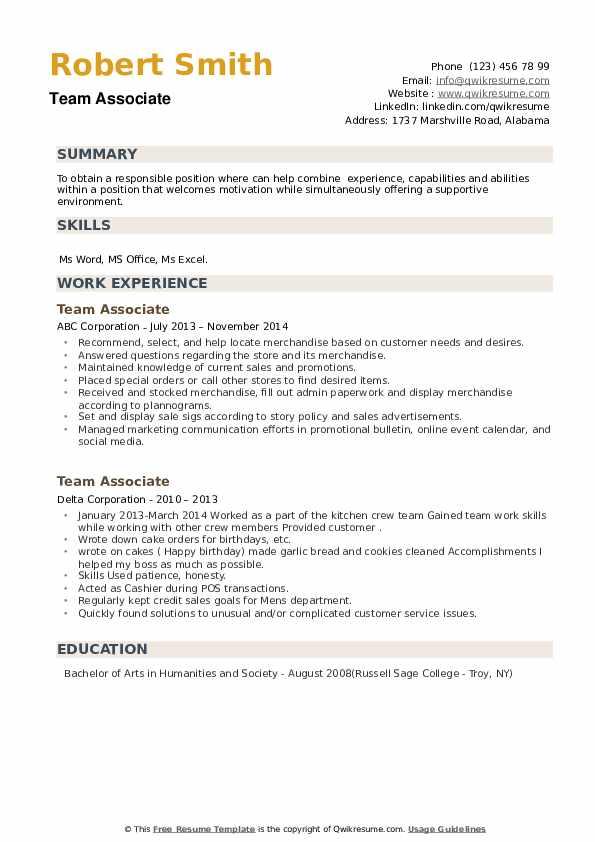 Team Associate Resume example