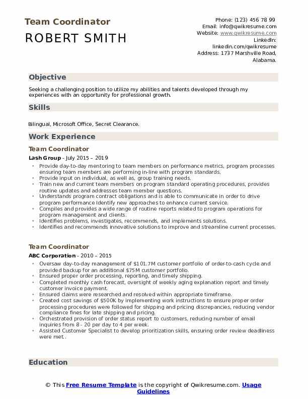 Team Coordinator Resume Sample