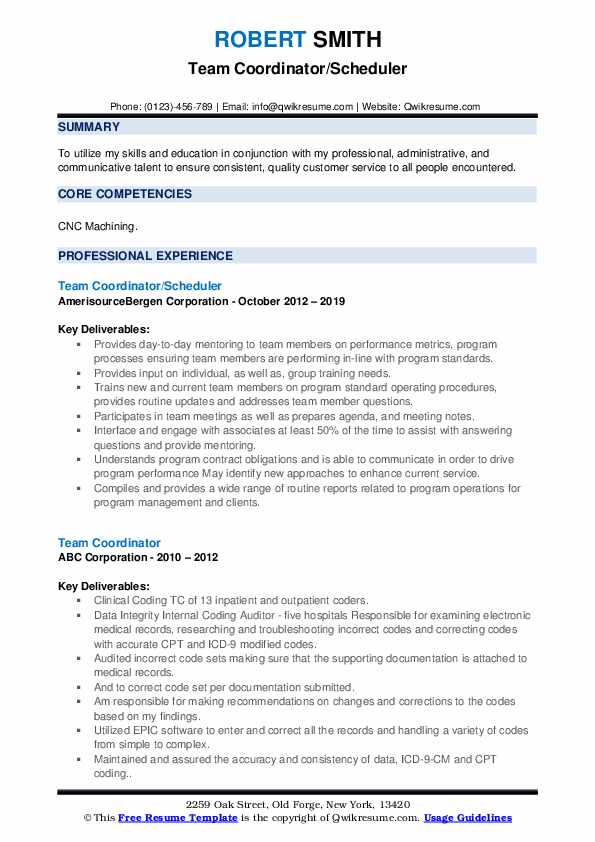 Team Coordinator/Scheduler Resume Template