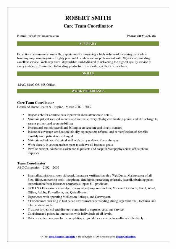 Care Team Coordinator Resume Model