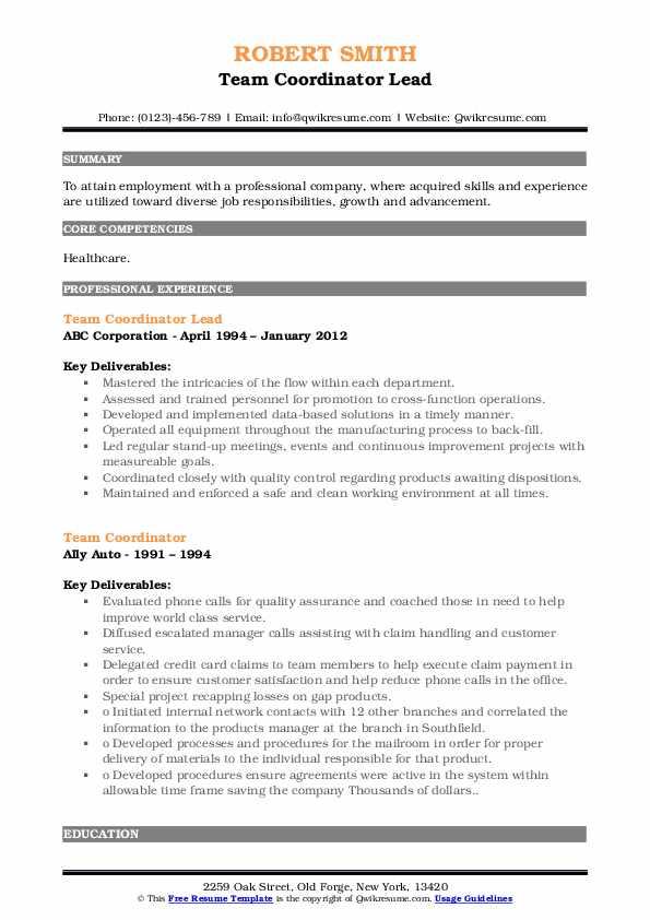 Team Coordinator Lead Resume Format