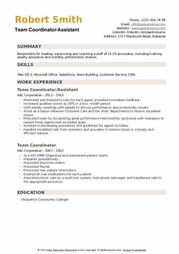 Team Coordinator/Assistant Resume Example