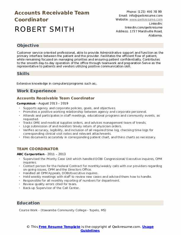 Accounts Receivable Team Coordinator Resume Model