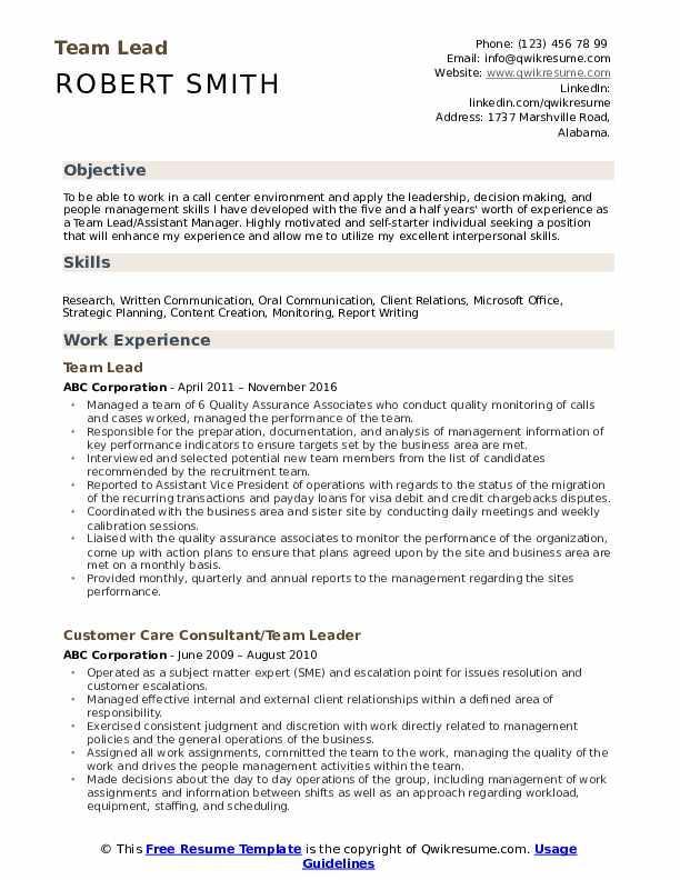 Team Lead Resume Format