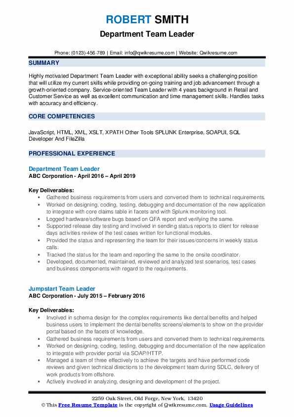 Department Team Leader Resume Sample