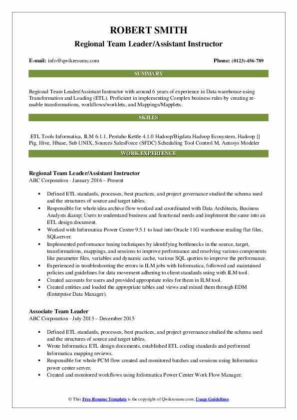 Regional Team Leader/Assistant Instructor Resume Example