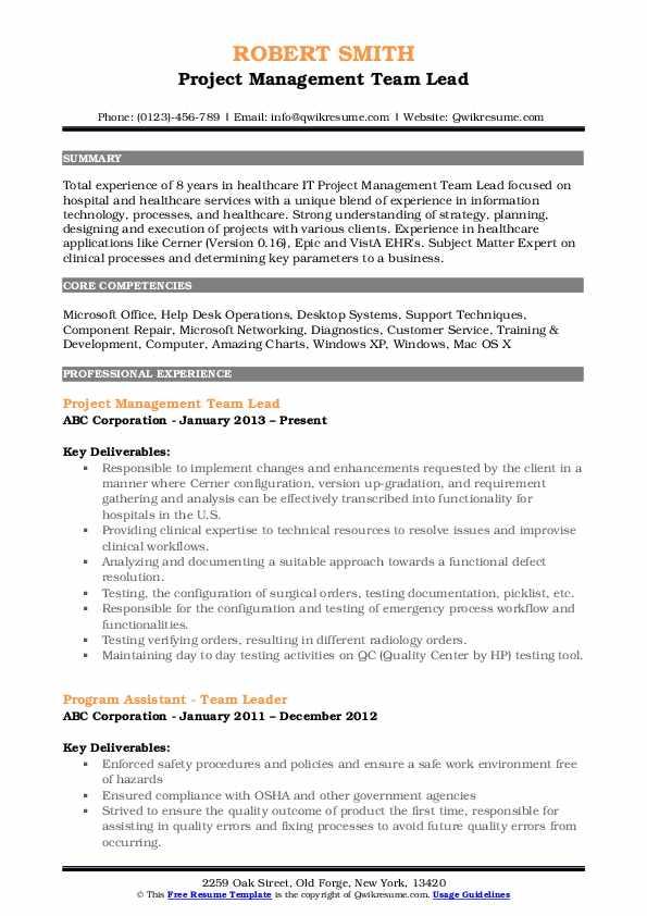 Project Management Team Lead Resume Sample