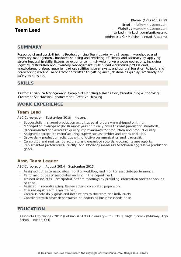 Team Lead Resume Samples Qwikresume