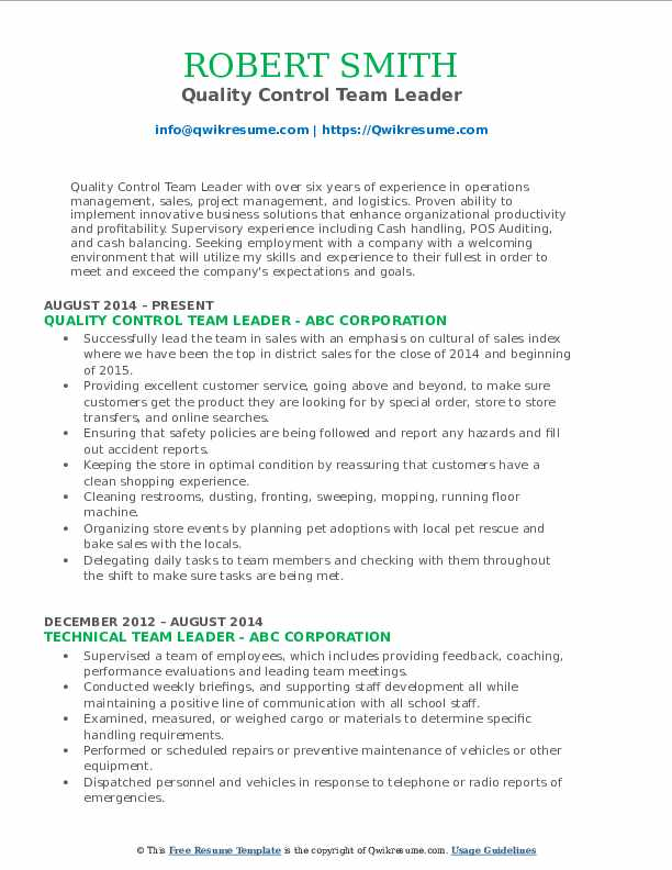 Quality Control Team Leader Resume Template
