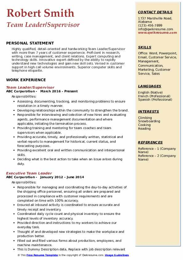 Team Leader/Supervisor Resume Format