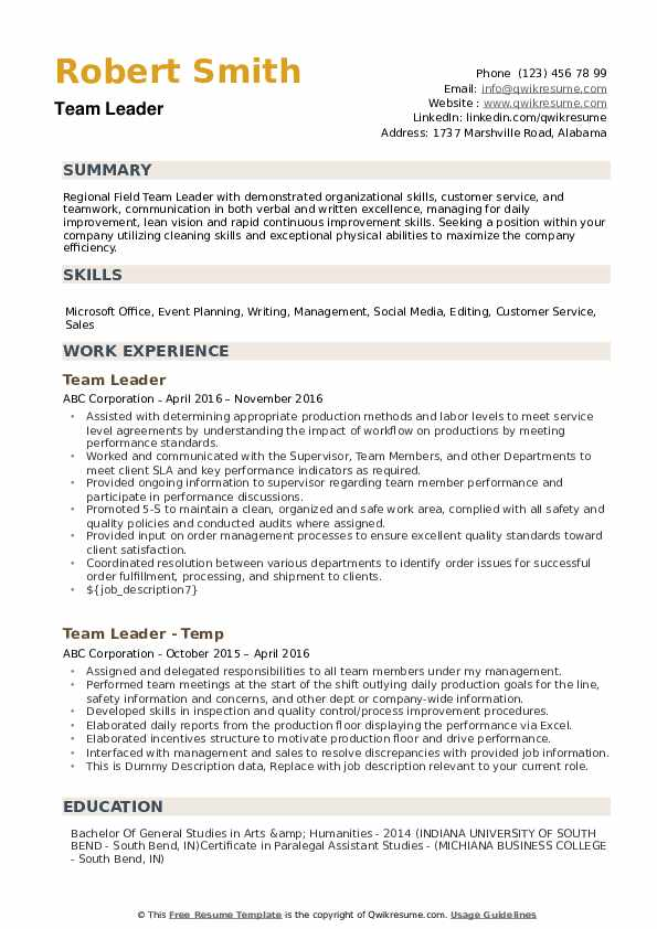 team leader resume samples