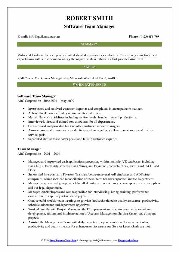 Software Team Manager Resume Model