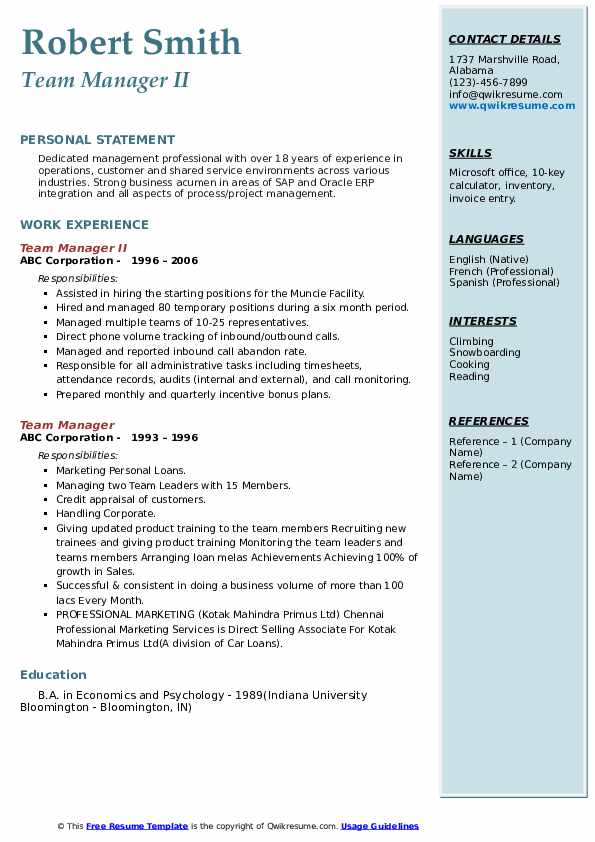 Team Manager II Resume Format