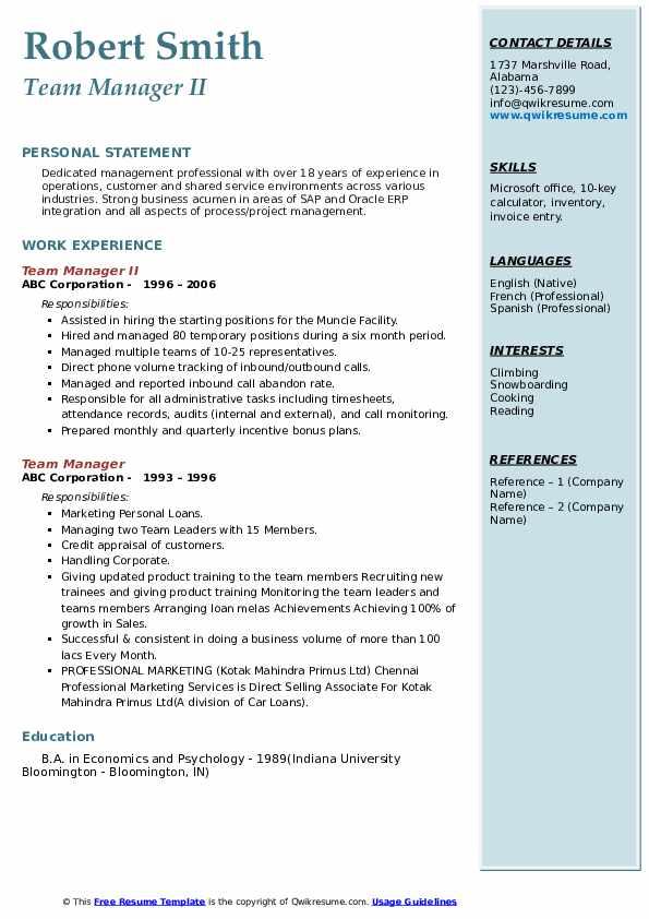 Team Manager II Resume Model