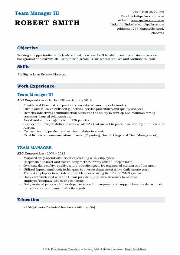 Team Manager III Resume Sample